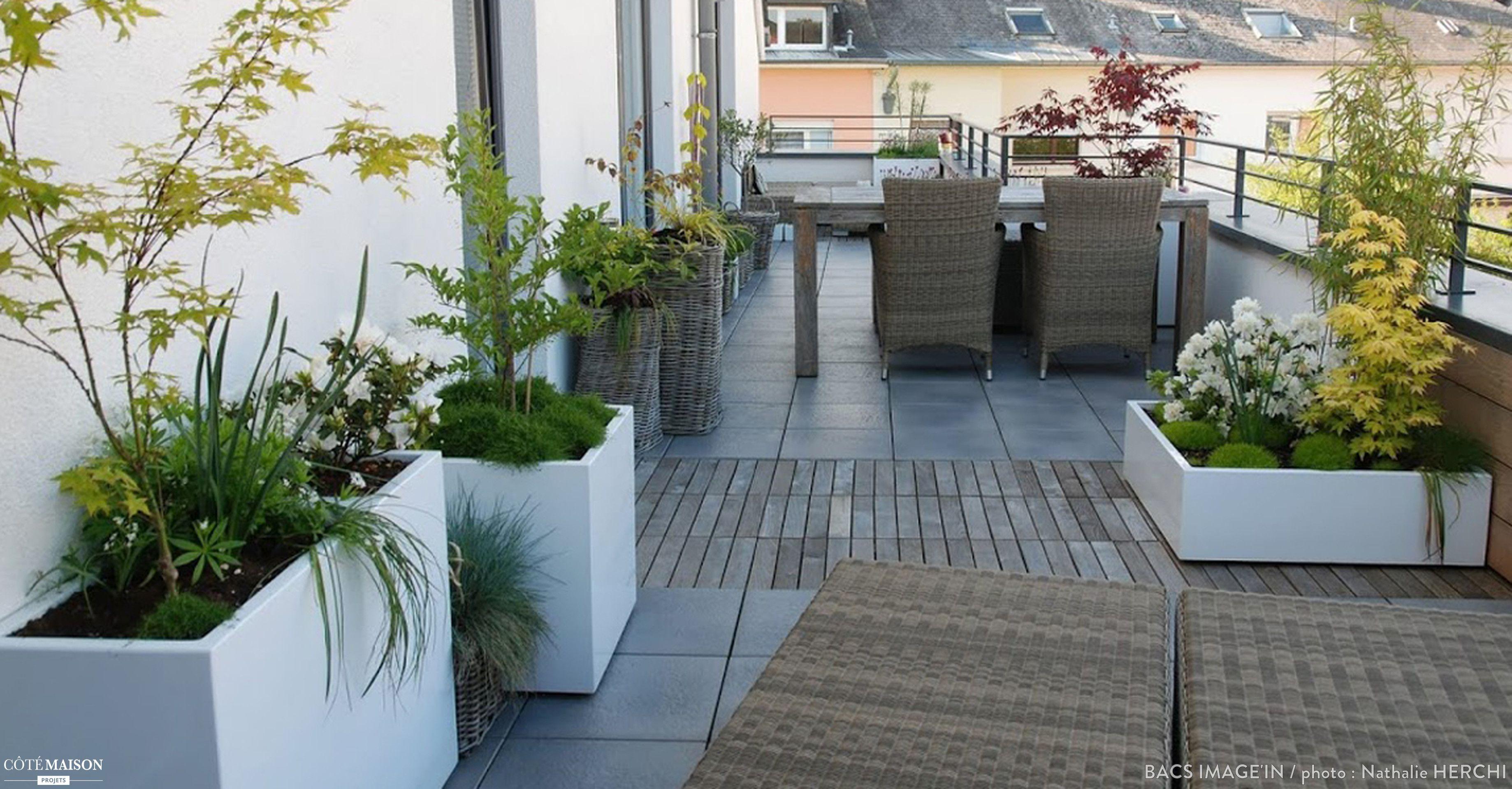 Jardinières sur mesure pour l\'aménagement d\'une terrasse privée au ...