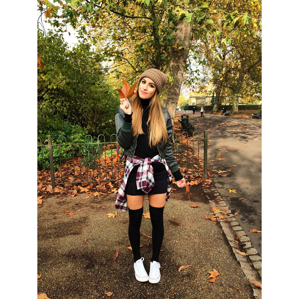 socks over the knee converse beanie outfit idea
