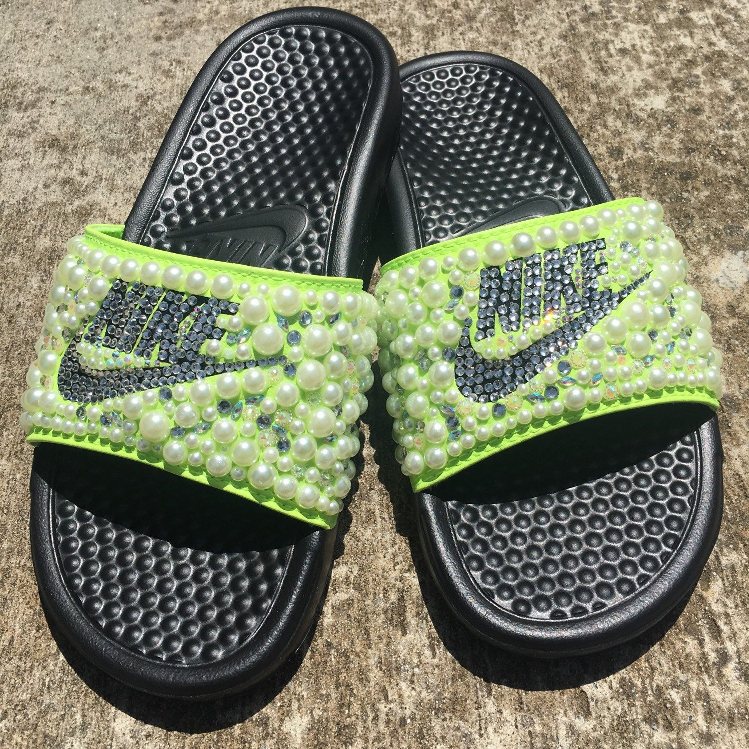 Lime Green Bedazzle Nike Slides. Starting at 45.00 and up. Get your today  for