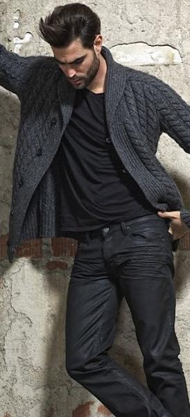 Men's Charcoal Shawl Cardigan, Black V-neck T-shirt, Black Jeans, Black Leather…