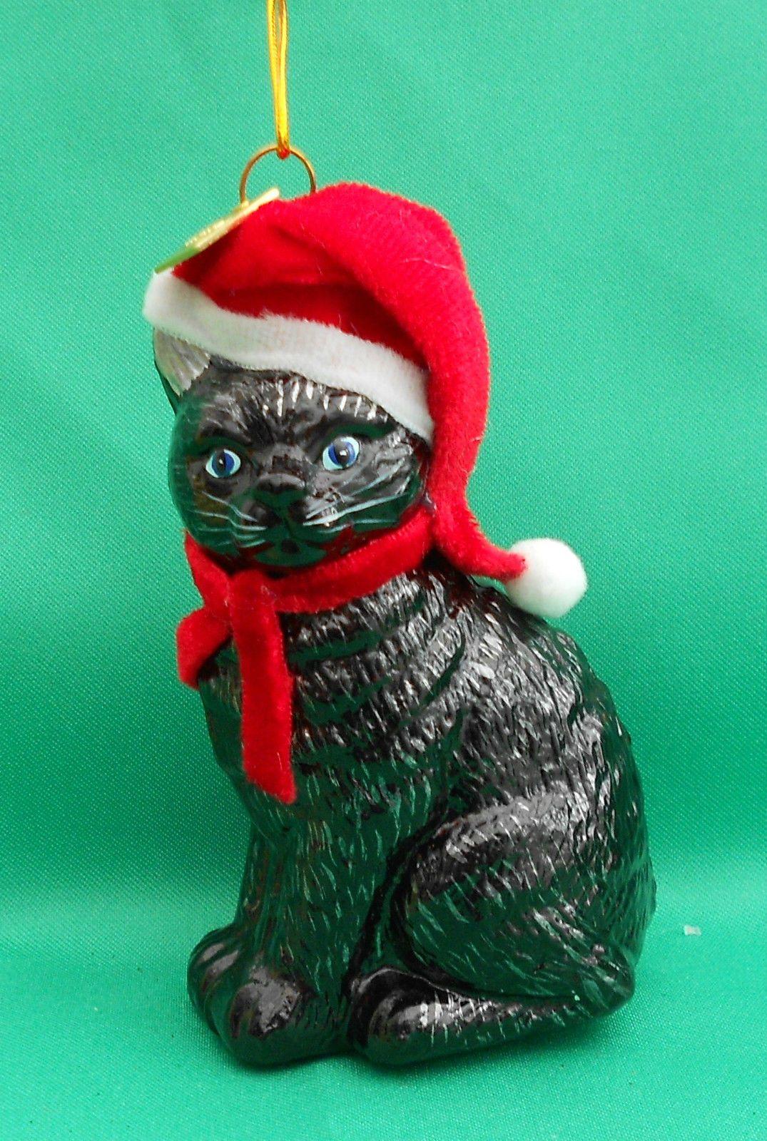 Lucky Black Cat Santa Hat Glass Christmas Tree Ornament