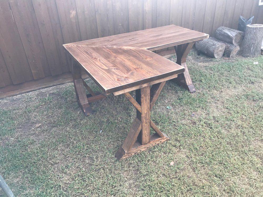 Distressed wood desk L shape farmhouse rustic Unique