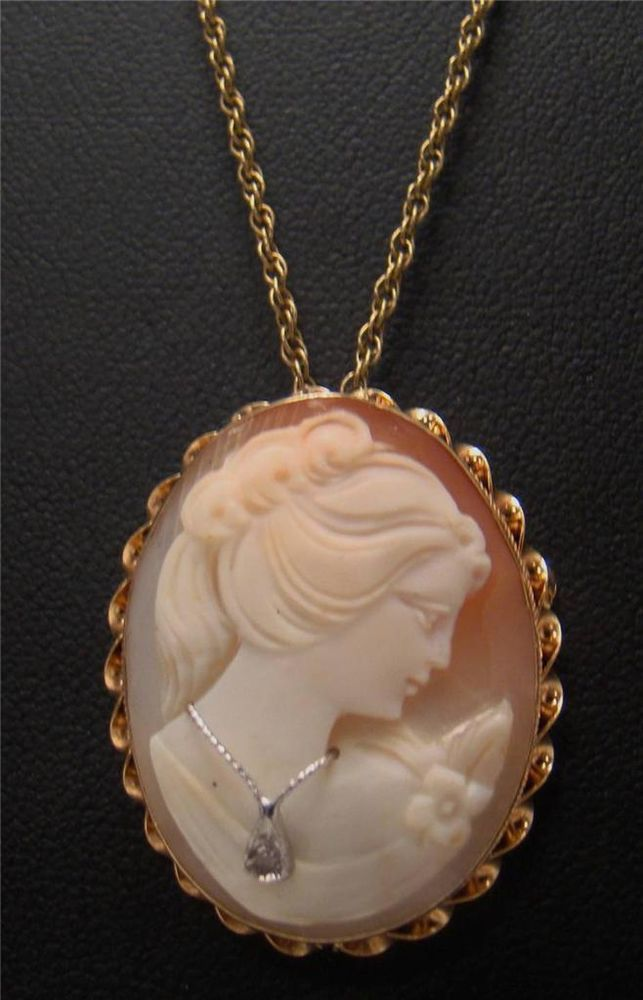 14k yellow gold 13 vintage cameo brooch pin pendant necklace 14k yellow gold 13 vintage cameo brooch pin pendant necklace diamond 18 chain mozeypictures Choice Image