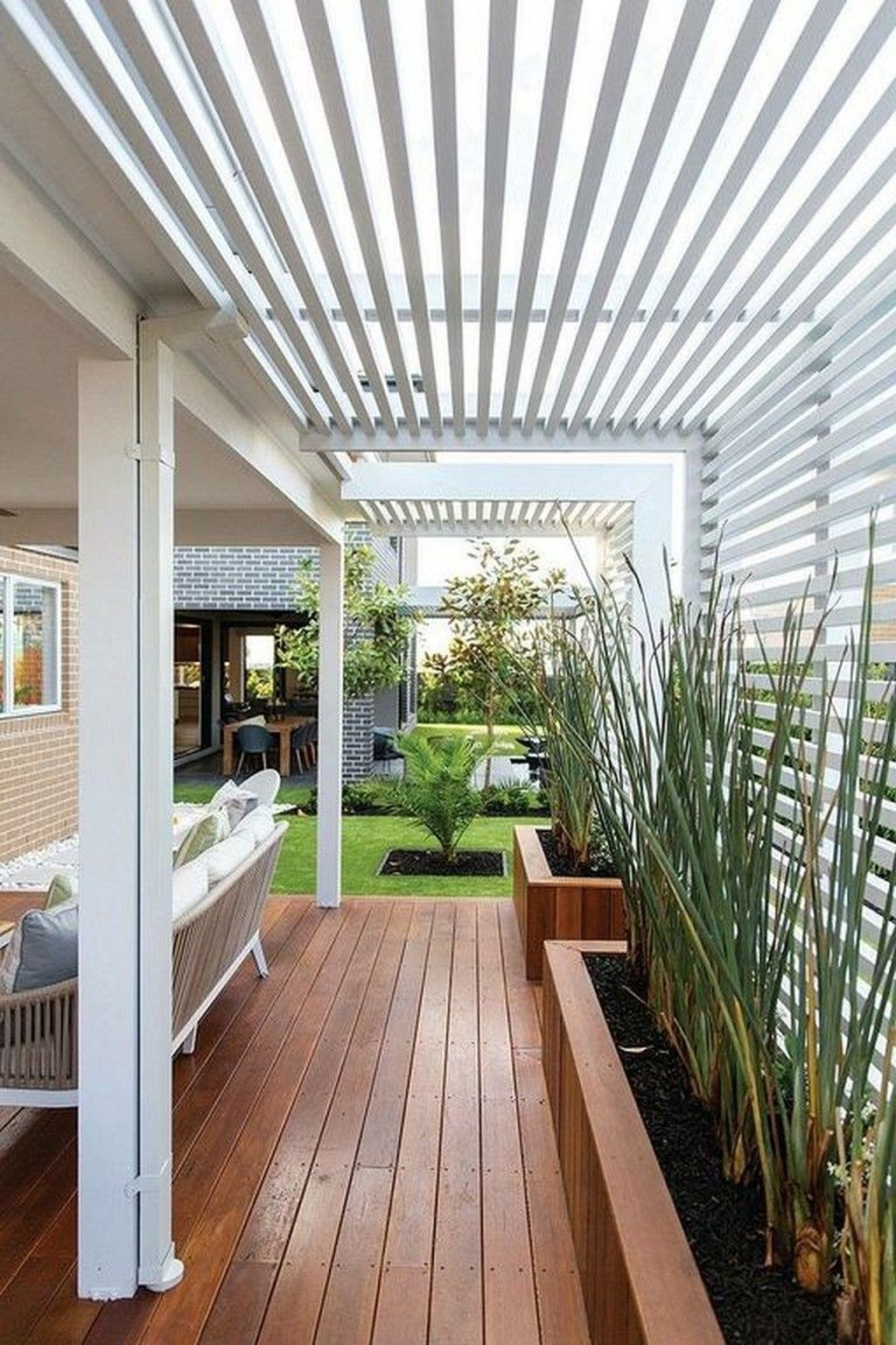 40 Wonderful House Terrace Design Ideas With The Sofa Outside Modern Landscaping Outdoor Pergola Patio Design