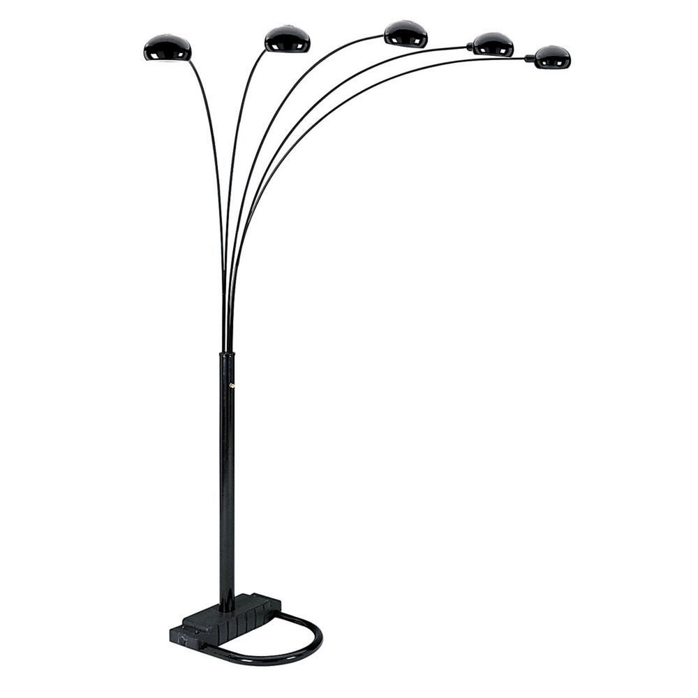 Ore International 84 In H Black 5 Arms Arch Floor Lamp 6962bkb The Home Depot In 2021 Arched Floor Lamp Black Floor Lamp Arc Floor Lamps 5 arm arch floor lamp