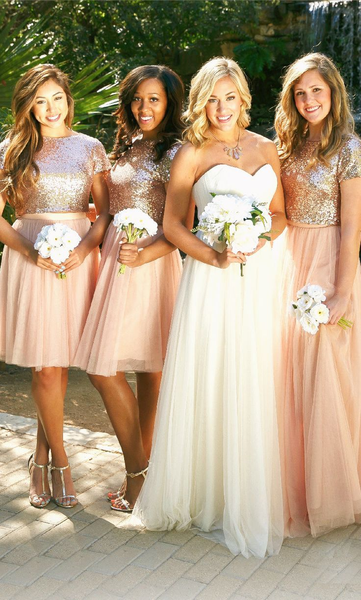 Two Piece Cap Sleeves Bridesmaid Dress Rose Gold Formal Gown in 2019 ... c8e998671974