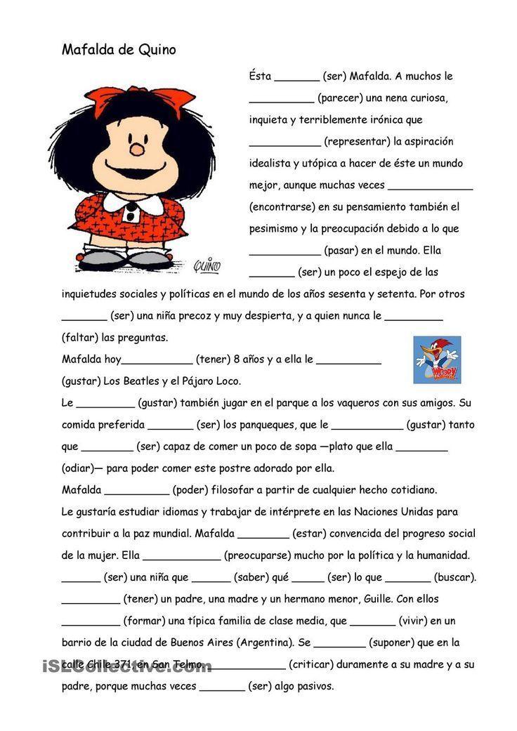 El presente con Mafalda | Para la clase de español | Pinterest ...