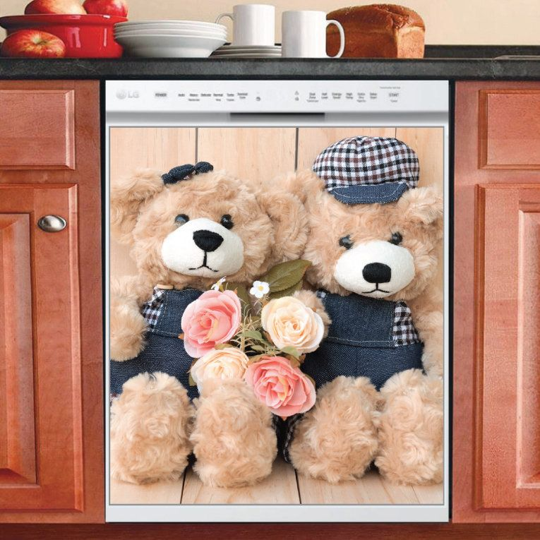Country Decor Kitchen Dishwasher Magnet Cover Cute Teddy Bear Couple 2 Country Decor Kitchen Decor Bear Decor