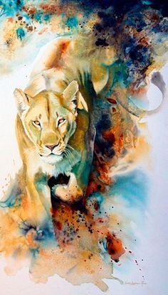 Lioness Watercolor Art  Karen LaurenceRowe  Image from theartofanimationtumbl