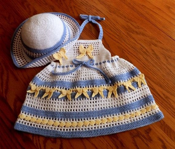 Baby Girl Crochet Dress Halter Top with Floppy by SugarToeBabies, $4.00