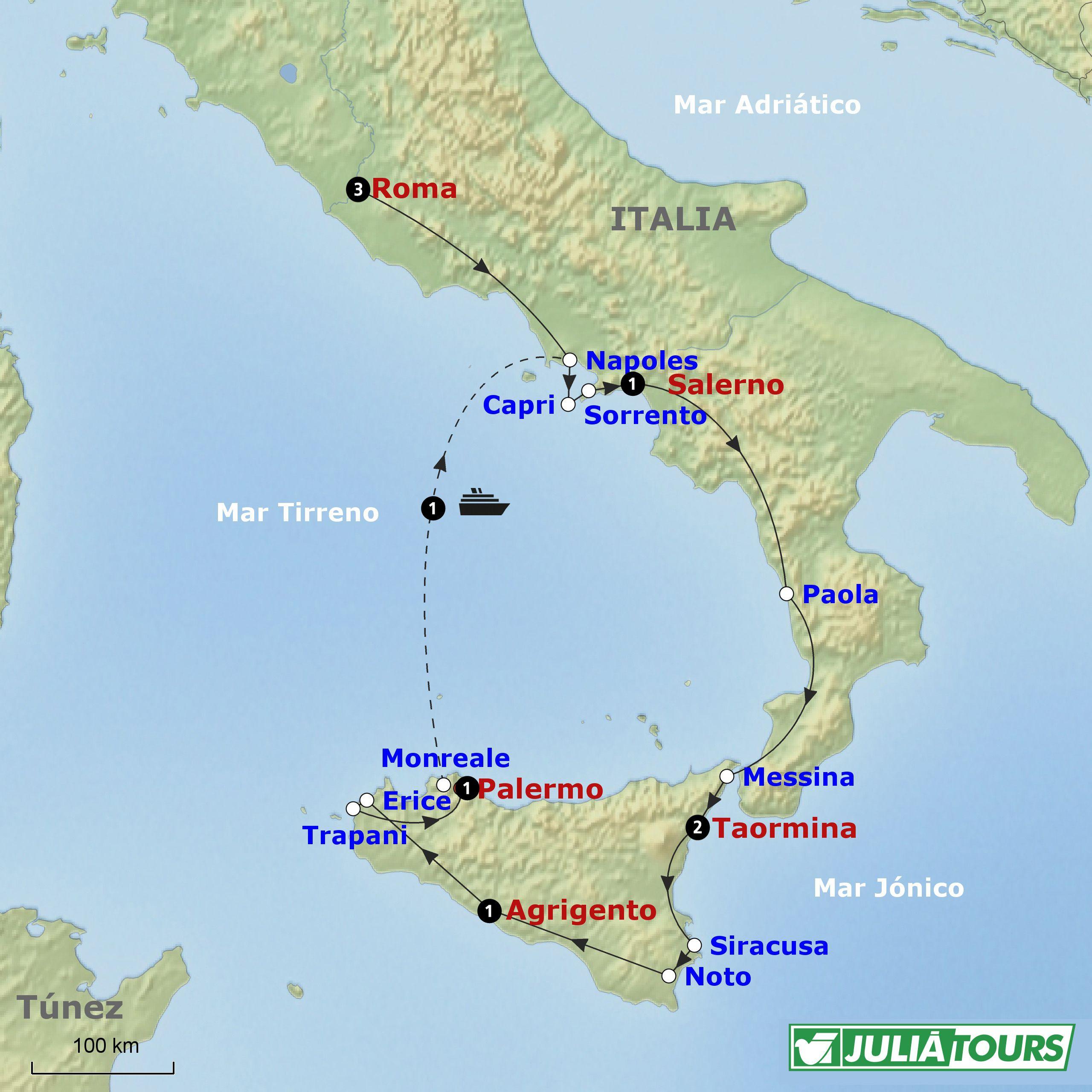 mapa sur de Italia con Capri  de bsqueda  viaje sur de italia