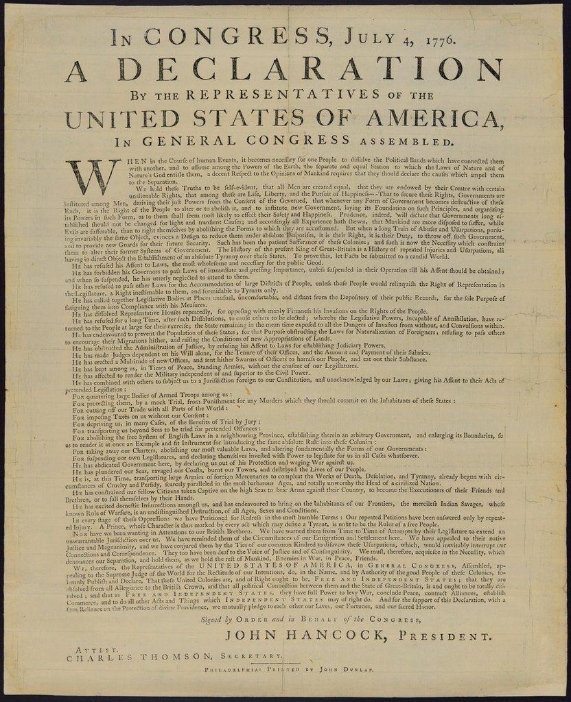 Declaração da Independência. No Congresso, 4 de Julho de