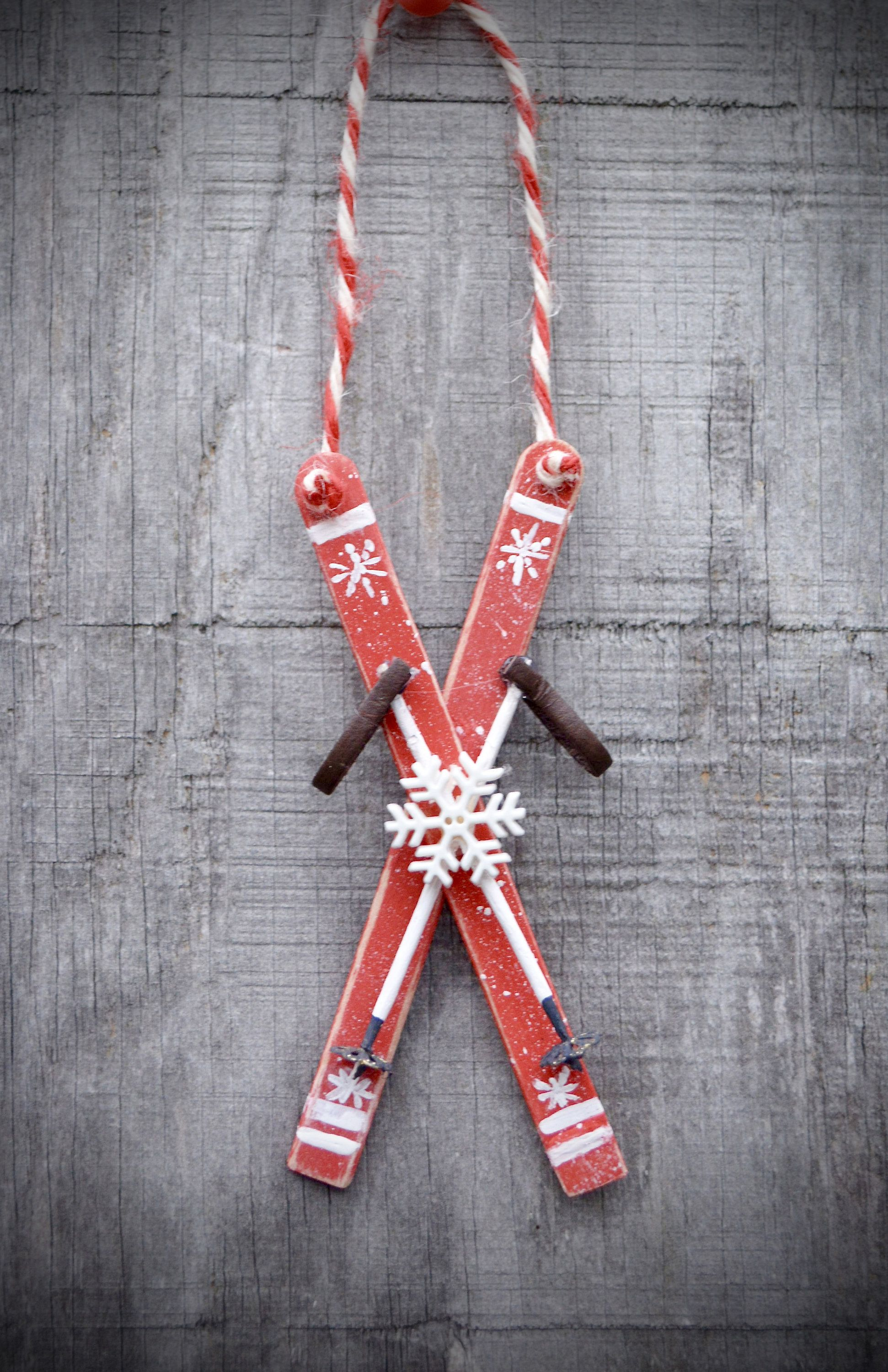 Photo of Wood Ski Ornament,Popsicle Stick Ski Ornament, Christmas Ski Ornament
