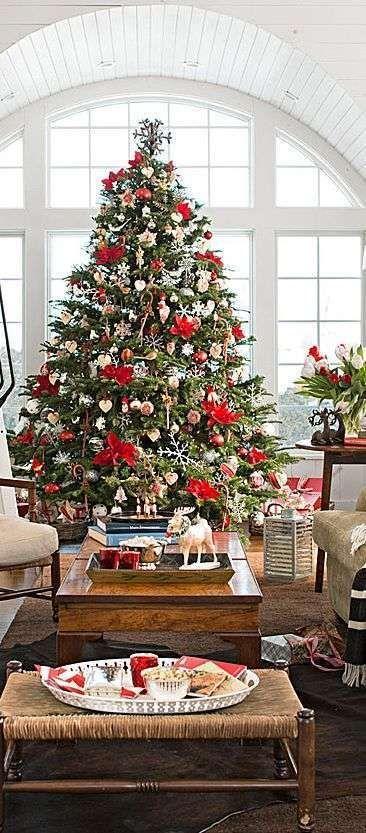 Fantastico  Albero di Natale bianco e rosso #kerstboomversieringen2019
