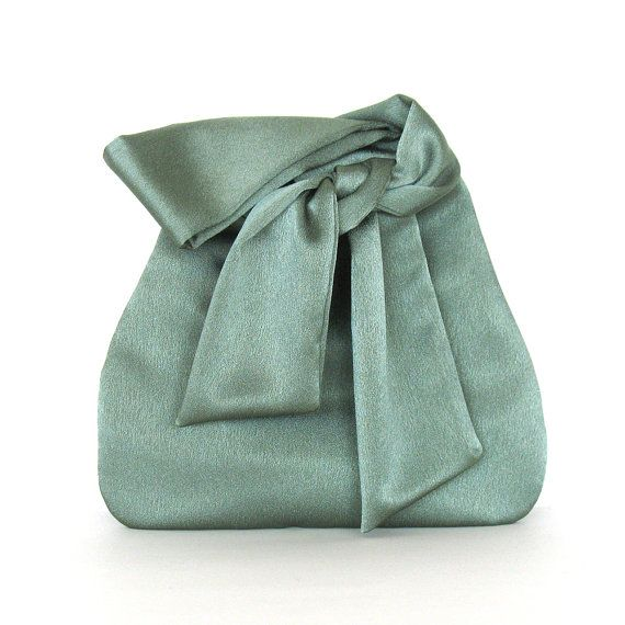 Evening bag elegant bridesmaid pursesmall green satin by Sisoibags, $42.00