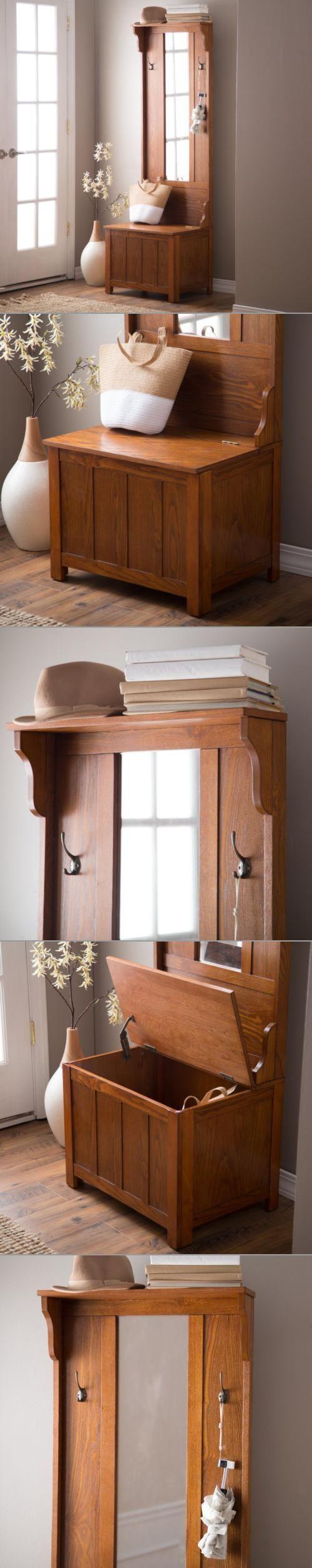 Hallway storage shoes  Slim Tall Hallway Tree Storage Furniture Bench Mirror Coat Rack