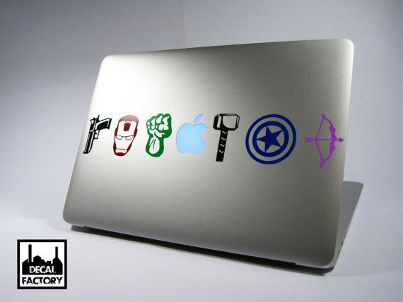 Cool avengers tools logos macbook laptop vinyl sticker decal apple air pro dell hp ibm acer