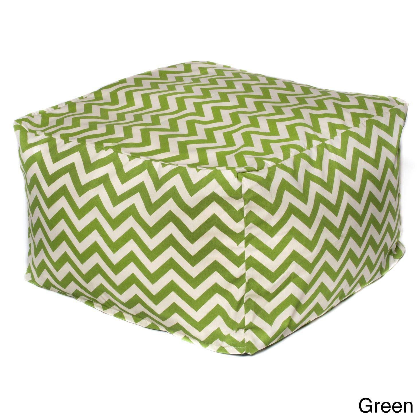 Swell Chateau Designs Outdoor Bean Bag Ottoman Green Chevron Inzonedesignstudio Interior Chair Design Inzonedesignstudiocom