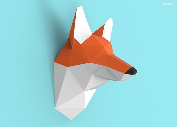 Fox Head Papercraft Pdf Pack 3d Paper Sculpture Template With
