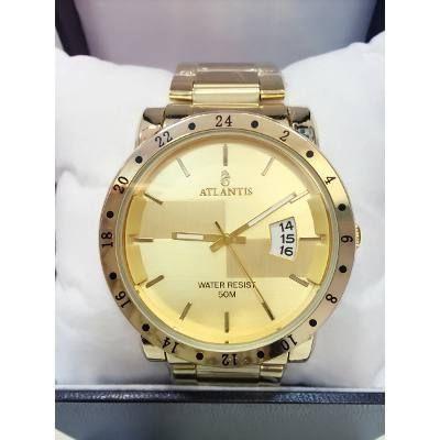 2ad56d90b95 Relógio Masculino Atlantis Dourado Original Com Calendário e frete grátis!  Apenas R  112