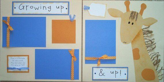 GROWING UP and UP giraffe 12x12 Premade Scrapbook by JourneysOfJoy