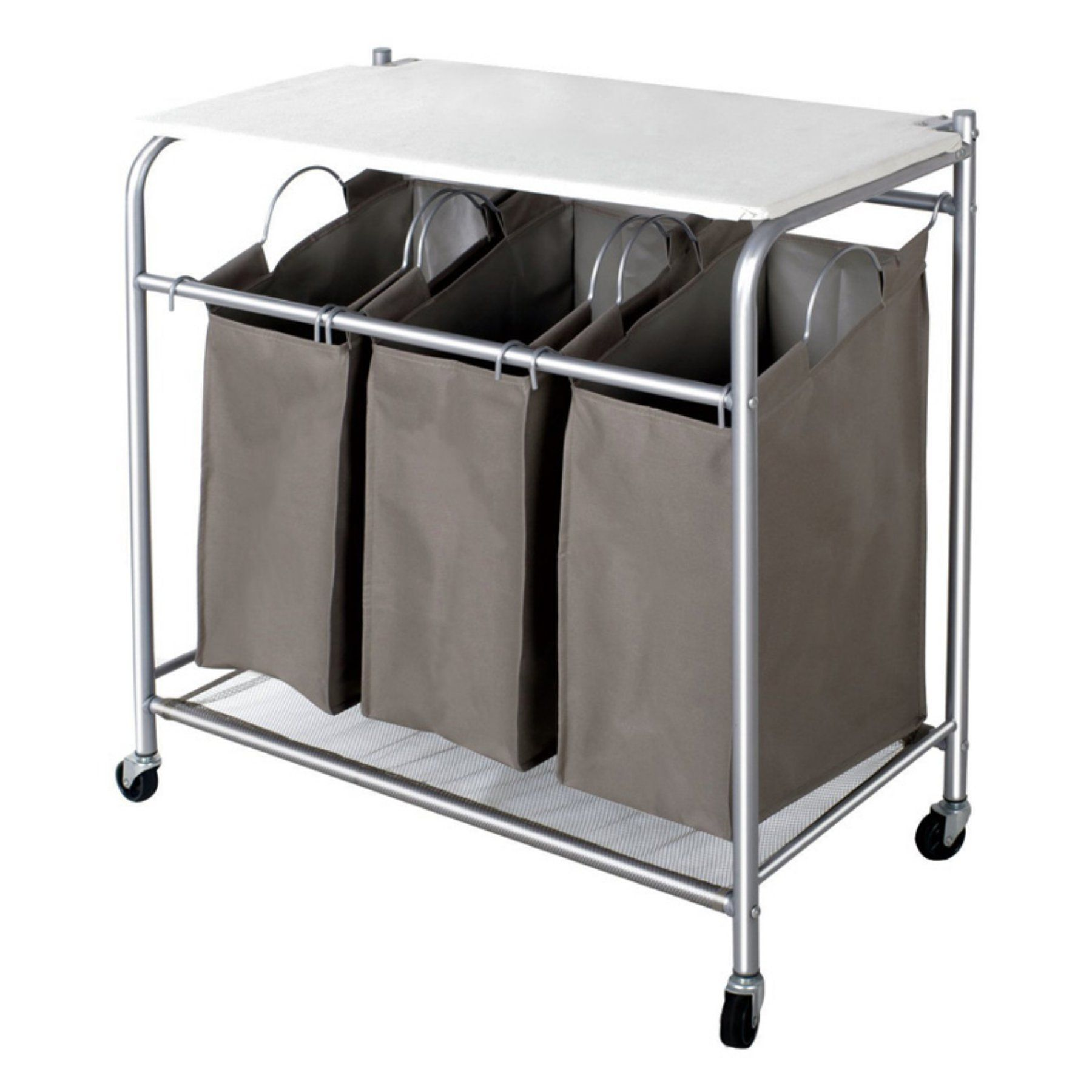Laundry Sorter With Ironing Board And 3 Removable Bags By