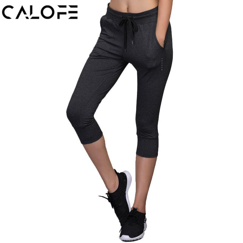 Calofe sport capri pants women elastic quick dry yoga