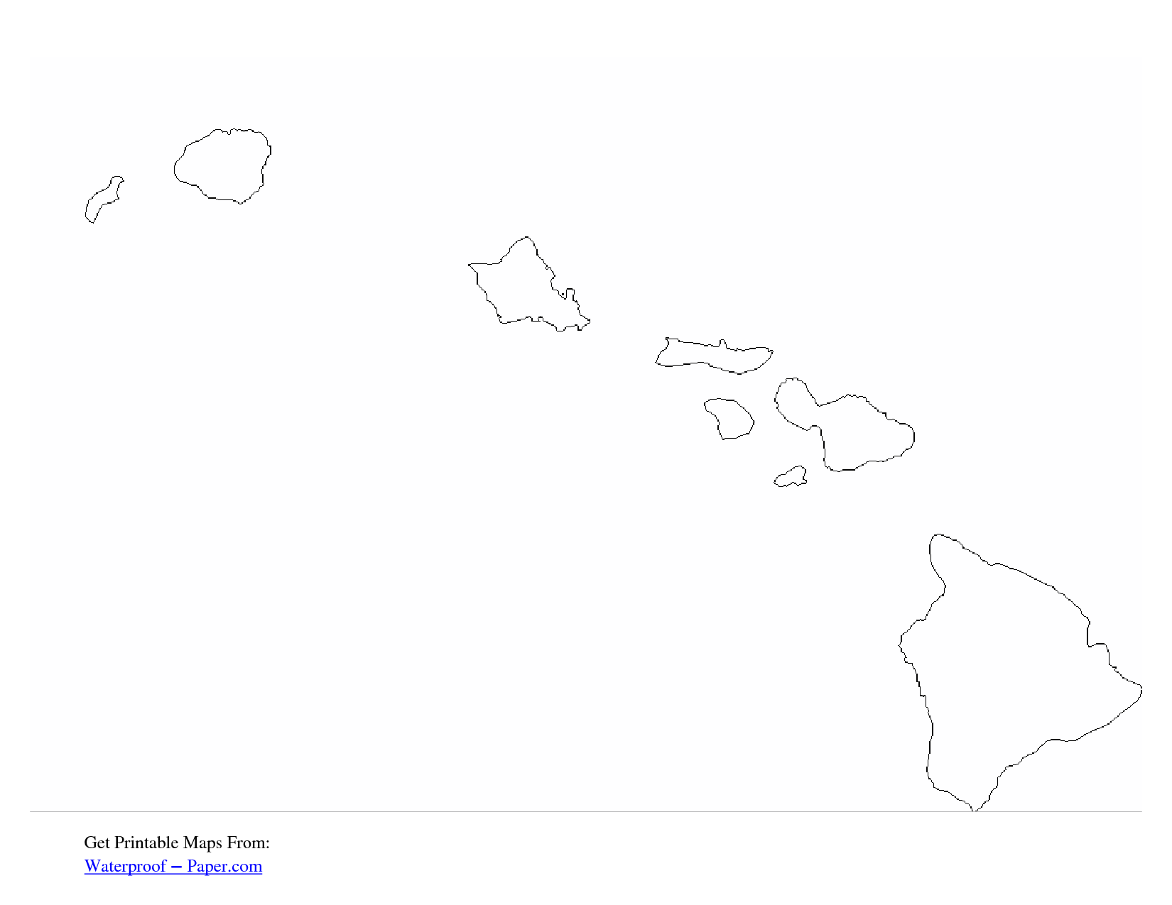 Free Printable Hawaii Outline Map