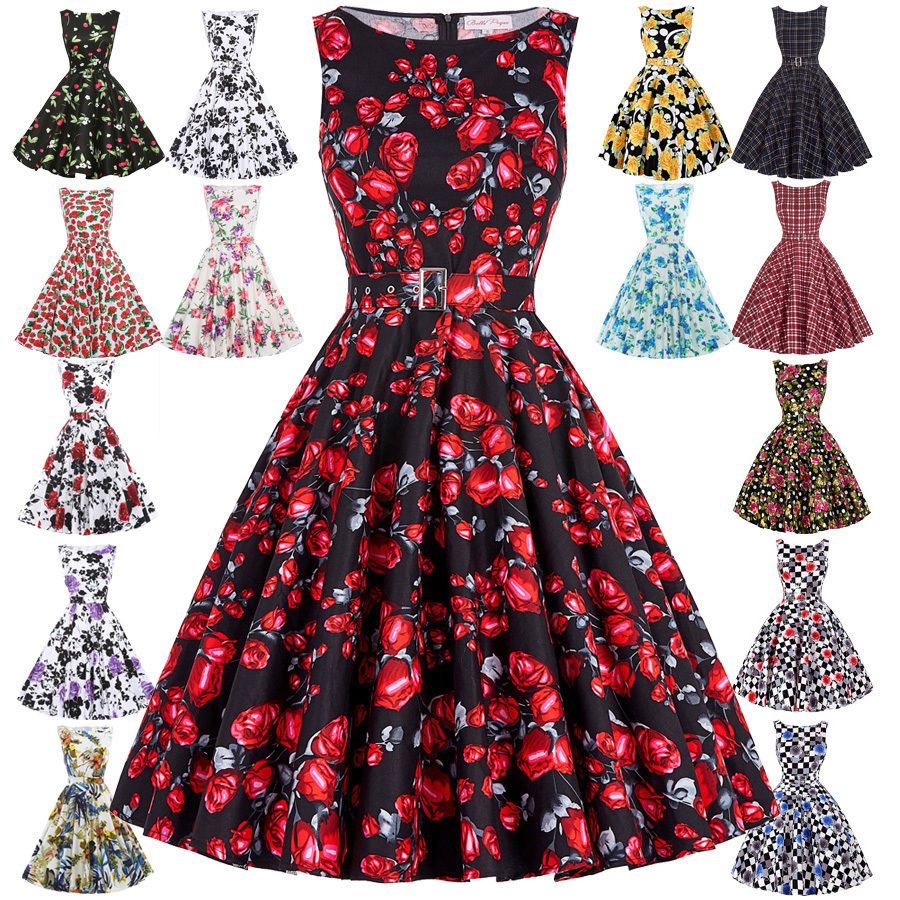 s vintage swing casual evening party prom dress retro pin up