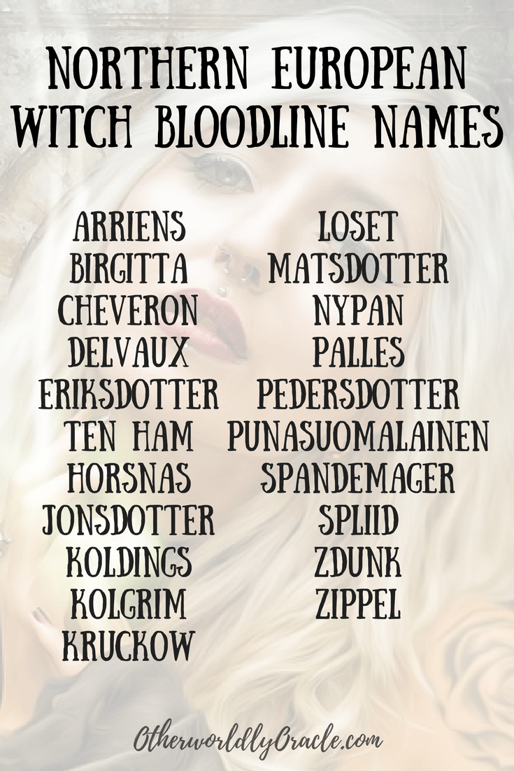 Northern European Witch Bloodlines By Last Name Writing Words Book Writing Tips Witch Names