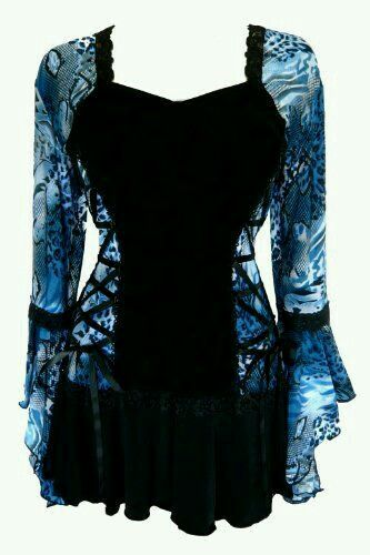 Blue and black goth shirt