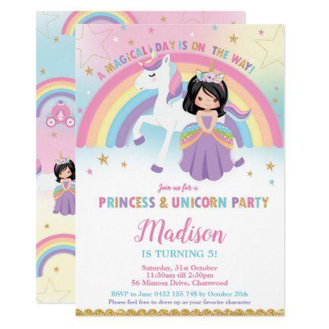 Princess and Unicorn Birthday Party Rainbow Invitation #UniqueGiftsIdeas #BirthdayGiftsUnique #PersonalizeGifts #ShopCustomizables