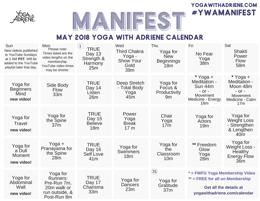 Calendar Yoga With Adriene Yoga With Adriene 30 Day Yoga Beginning Yoga