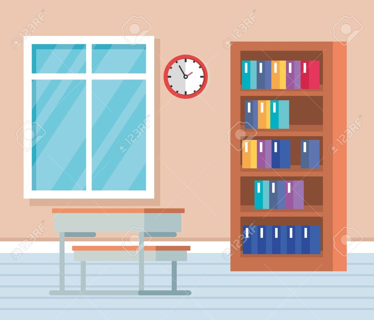 academic classroom with books inside bookcase and desk to school education vector illustration ,