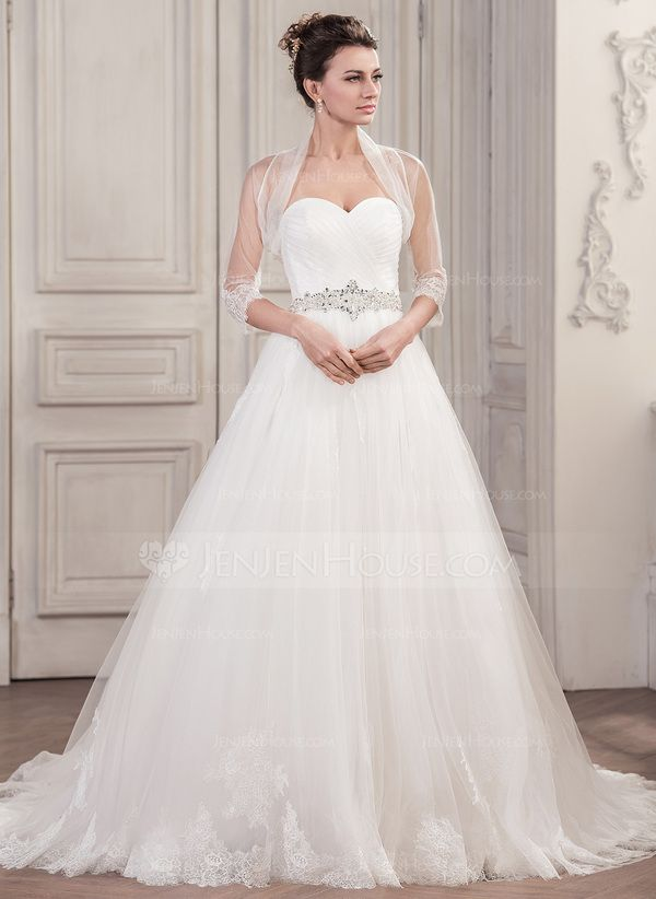Ball-Gown Sweetheart Chapel Train Tulle Wedding Dress With Ruffle ...
