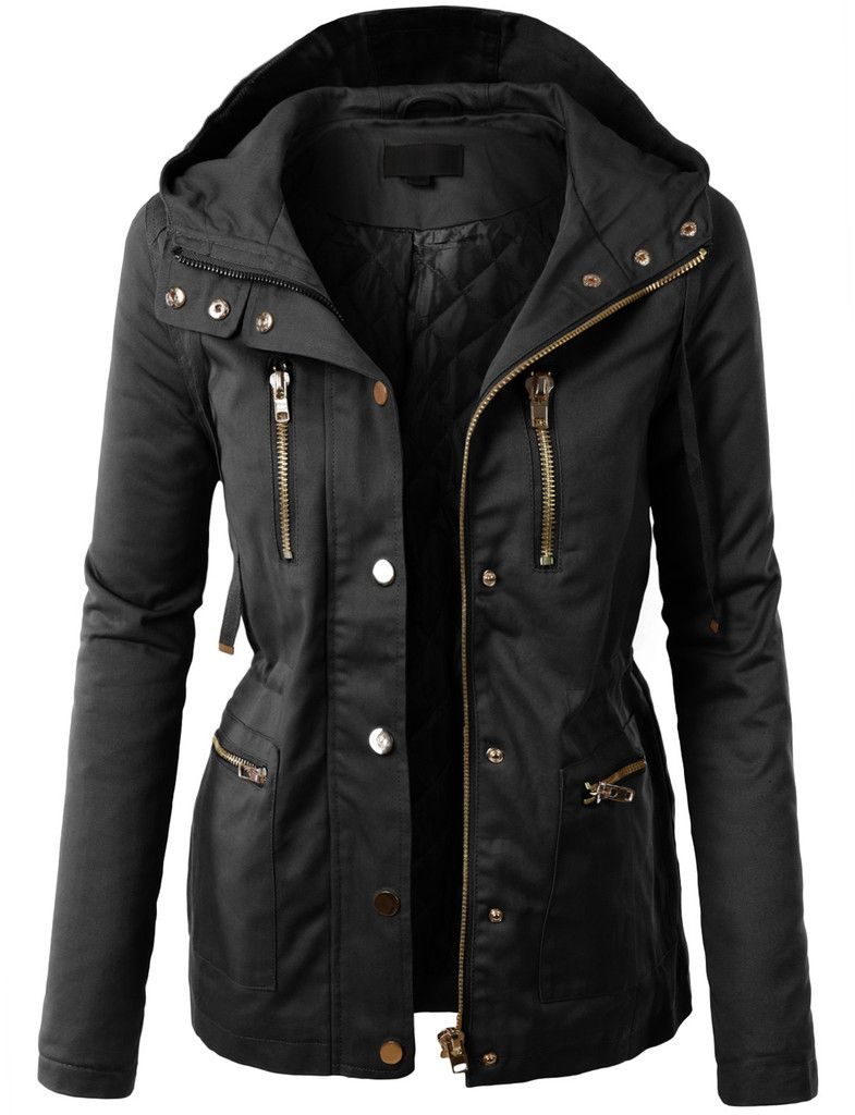 LE3NO Womens Fully Quilted Lined Anorak Hoodie Jacket with Pockets ...