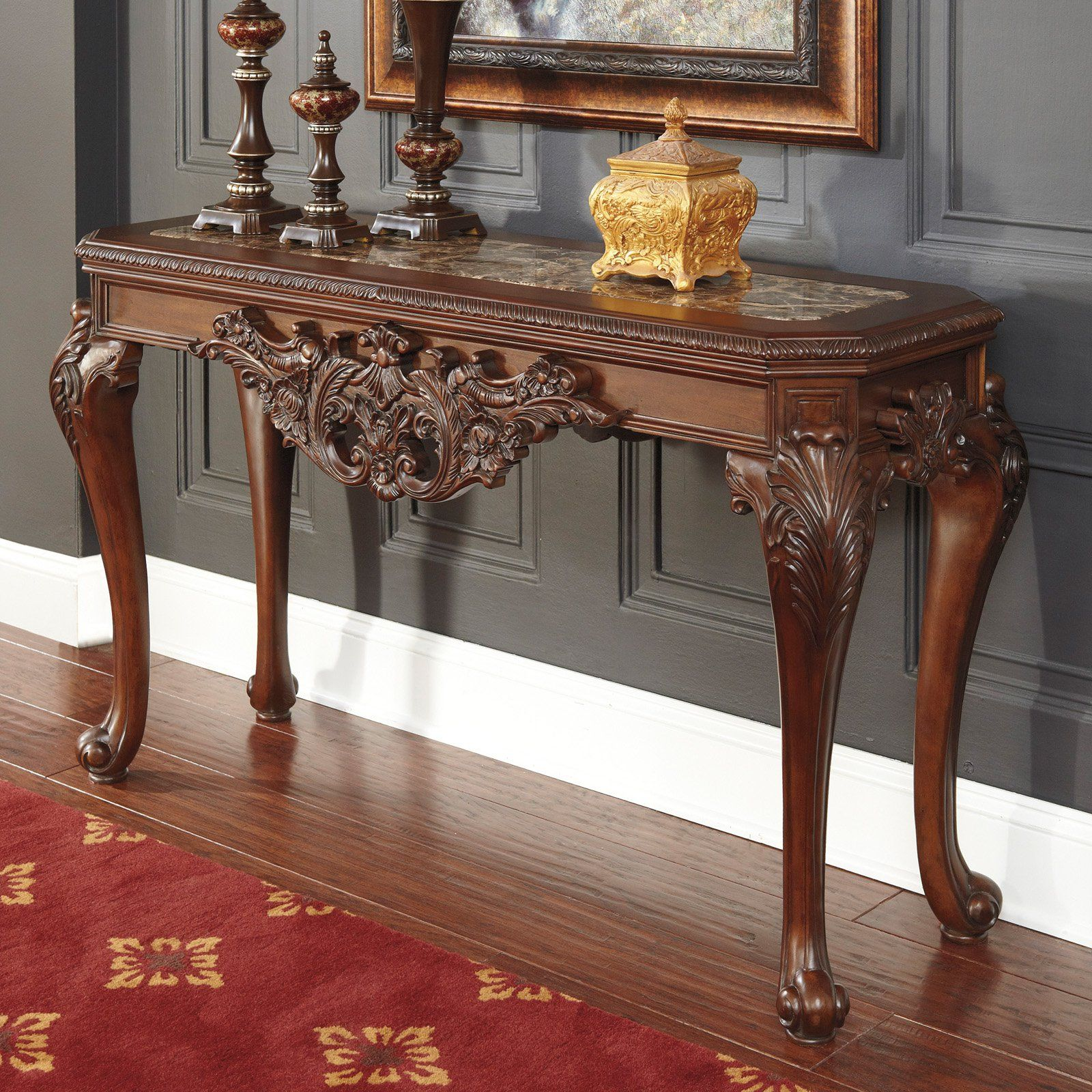 Signature Design By Ashley Florimar Rectangular Brown D Sofa Table From Hayneedle
