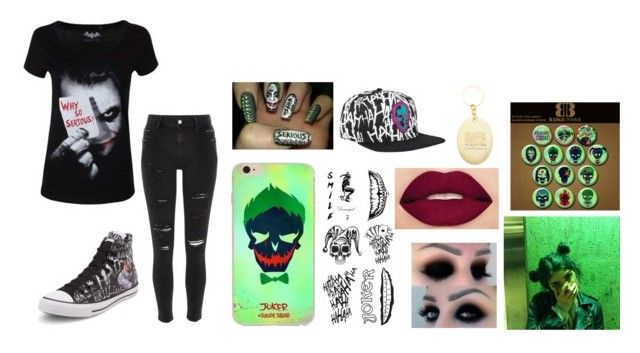 """""""The Joker"""" by shyoxic ❤ liked on Polyvore featuring Converse, River Island and Smashbox"""