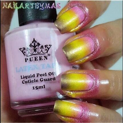 Pueen Latex Tape L Off Cuticle Guard Skin Barrier Protector Nail Art Liquid 15ml Pink Bh000584 Beauty