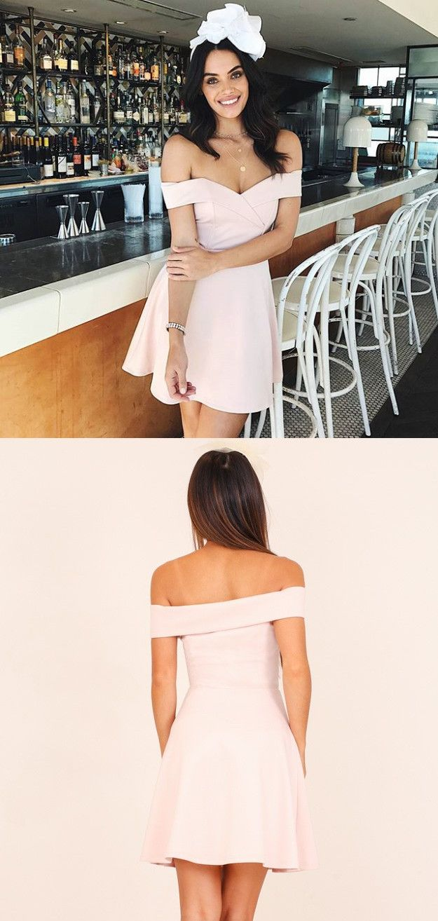 Short pink prom dress homecoming dress off the shoulder short pink