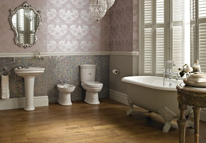 Bathroom, Captivating Traditional And Contemporary Bathroom Ideas With  White Tub And White Elegant Sinks As Well As Light Wooden Floor: Wonderful  ...