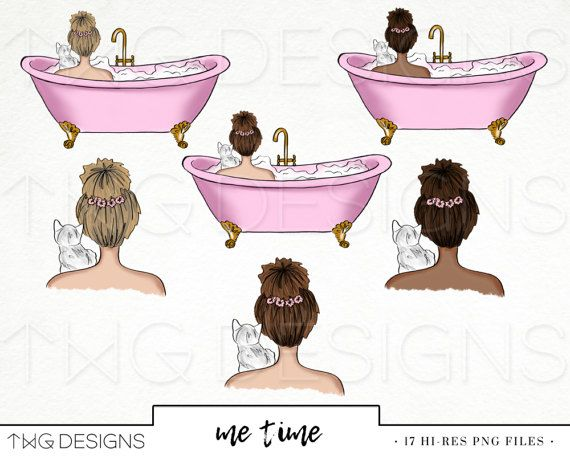 Chill Room Fashion Girl Clip Art Watercolor Clipart Png Bath Spa