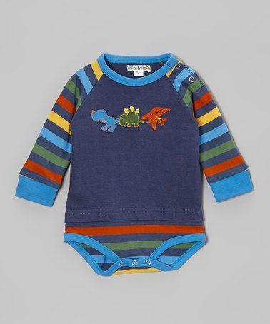 Take a look at this Indigo Stripe Dino Bodysuit by Mini Bamba on #zulily today!