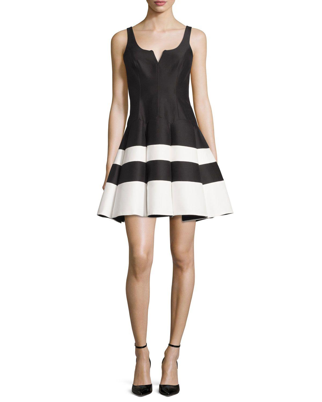 Black dress neiman marcus - Sleeveless Striped Mikado Fit And Flare Dress Black White Halston Heritage