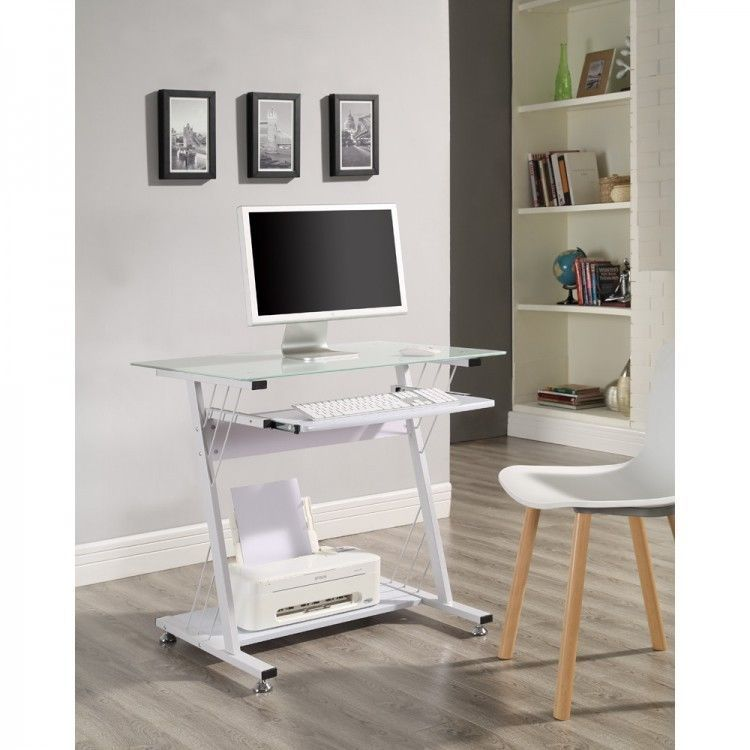 Small White Computer Desk Metal Glass Keyboard Shelf