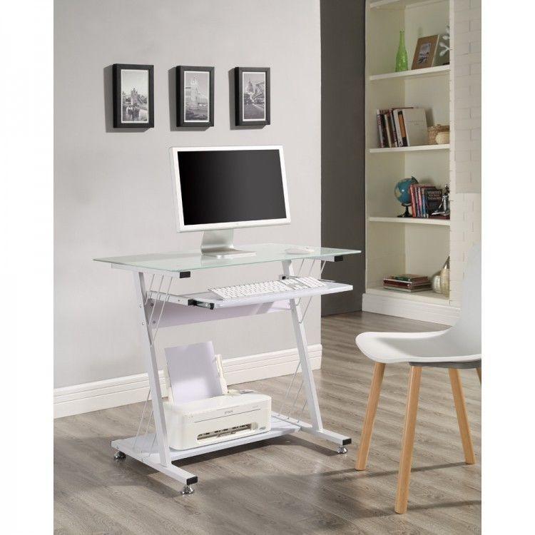 Small White Computer Desk Metal Glass Keyboard Shelf Bedroom Kids