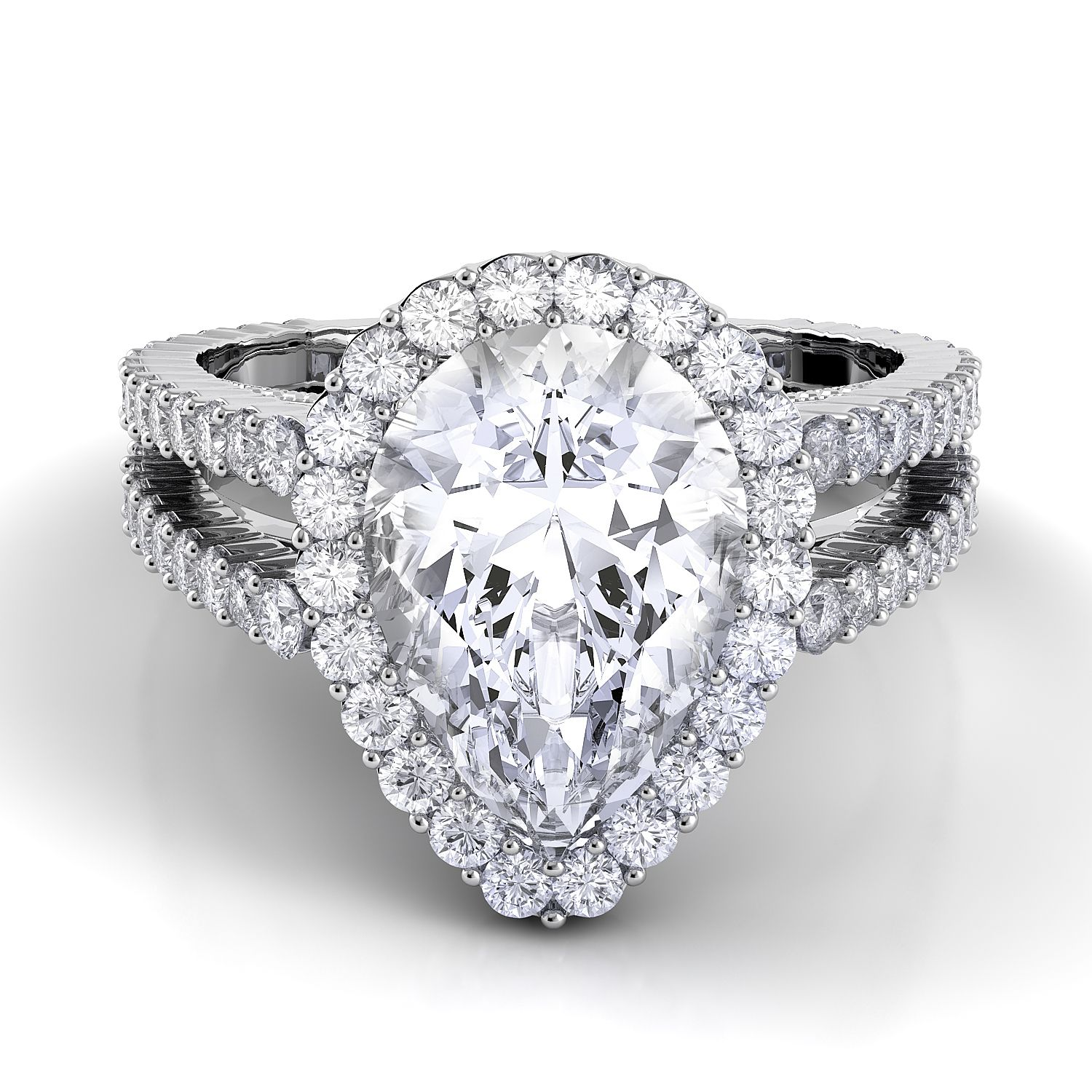 Pear shaped Carezza engagement ring.