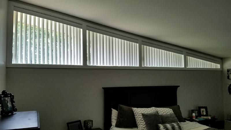 Vertical Blinds Are A Great Solution For Trapezoid Windows Slanted Frame Or Odd Shaped