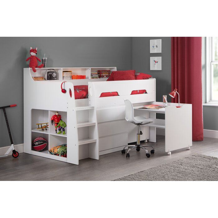 Fernando Single Mid Sleeper Bed With Shelf And Desk In