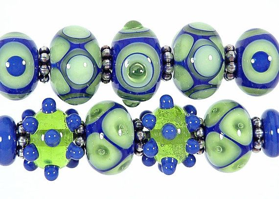 Blazin' Blues Lapis and Lime Lampwork Bead Set by SharplineDesigns, $34.00